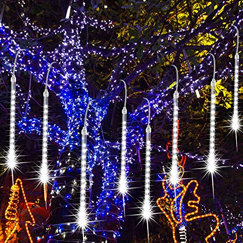 Trippix Meteor Shower Lights, 11.8 inch 8 Tubes 112 LEDs Waterproof Tree Icicle Falling Rain Lights for Outdoor Christmas Decorations, Halloween Decoration, Party, Wedding (No Plug, White)