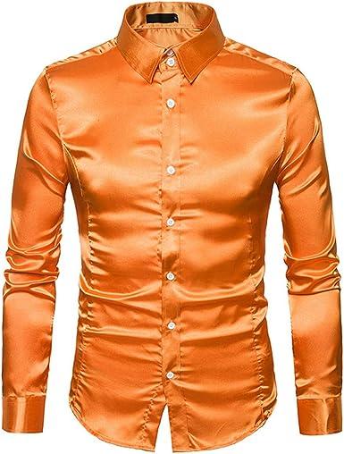 Camisa de Seda para Hombre, Lisa, Satinada, para esmoquima ...