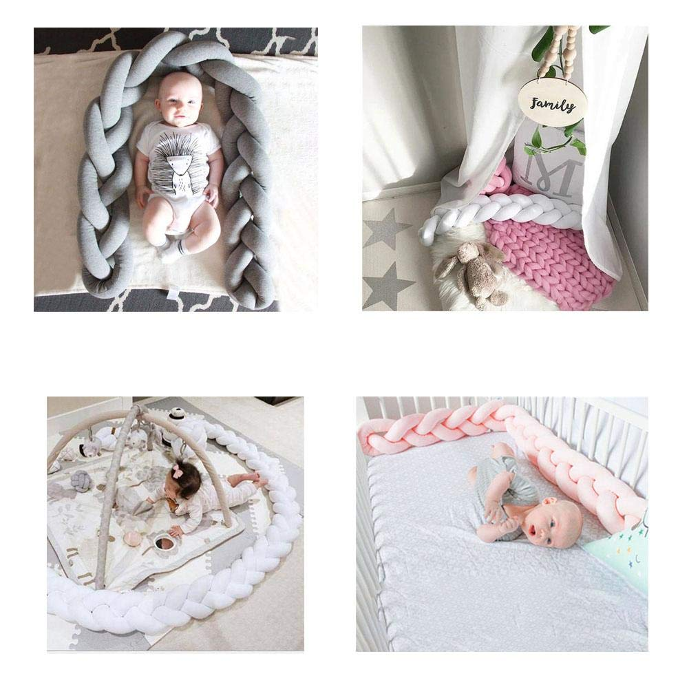 1 m decoraci/ón de Cuna coj/ín de Felpa con Nudos para Cuna Protector de Dormir para beb/é Protector Trenzado para Cuna de beb/é Blanco