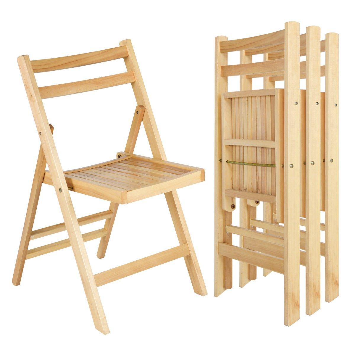 Giantex 4 Pcs Solid Wood Folding Chairs Ergonomic Slatted Seat Backrest Wedding Patio Garden Home Furniture (Natural)