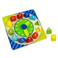 ACOOLTOY Forma Ordinamento Giocattoli in Legno Digitale Geometria Clock Giocattolo Educativo per i Bambini di 18 Mesi +