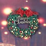Gold Powder Ball Cutting Christmas Decoration Garland (40Cm) Door Window Decoration Garden Garden Decoration Creative (A)