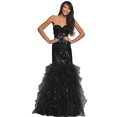 Jovani Glitter Strapless Formal Dress Black 0