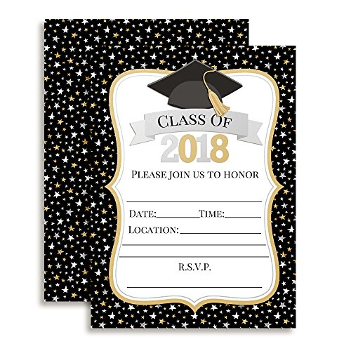 Classic Star Black, Gold and Silver Graduation 2018