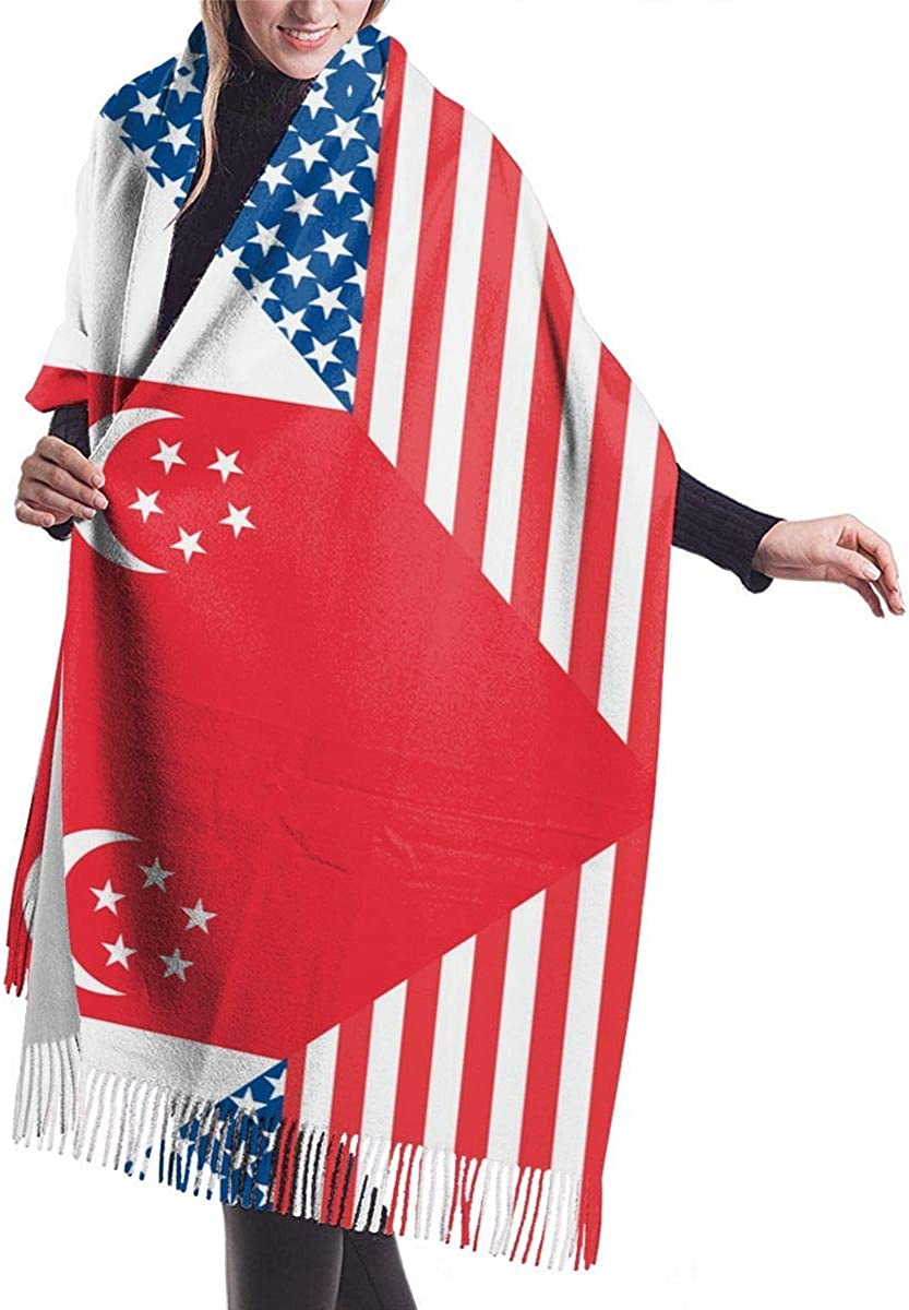 American and Singapore Flag Cashmere Scarf Shawl Wraps Super Soft Warm Tassel Scarves For Women Office Worker Travel