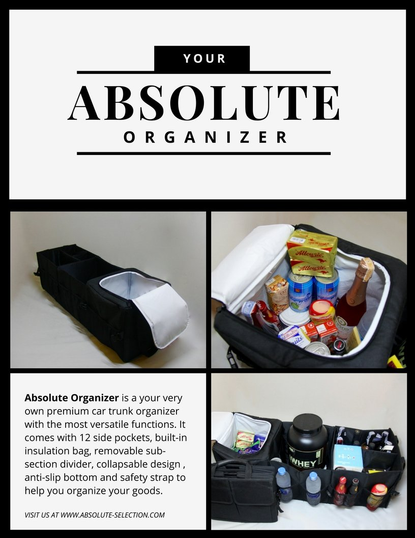 Untimate Car Trunk Organizer - Best for SUV, Vehicle, Truck, Auto, Grocery, Home & Garage - With Premium Insulation Cooler Bag, 12 Pockets, Adjustable Compartment by Absolute (Image #2)