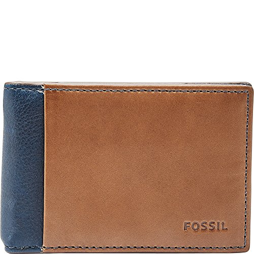 Fossil Clip Money Clip (Fossil Men's Ward Leather Rfid Blocking Money Clip Bifold Wallet, navy, One Size)