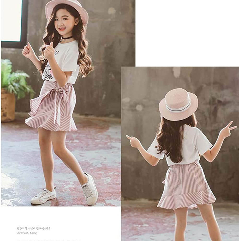Gyratedream Girls Summer Clothes 3-12 Years Kids Floral Print T-Shirt Short Sleeve Tops Striped Mini Skirts 2Pcs Outfits