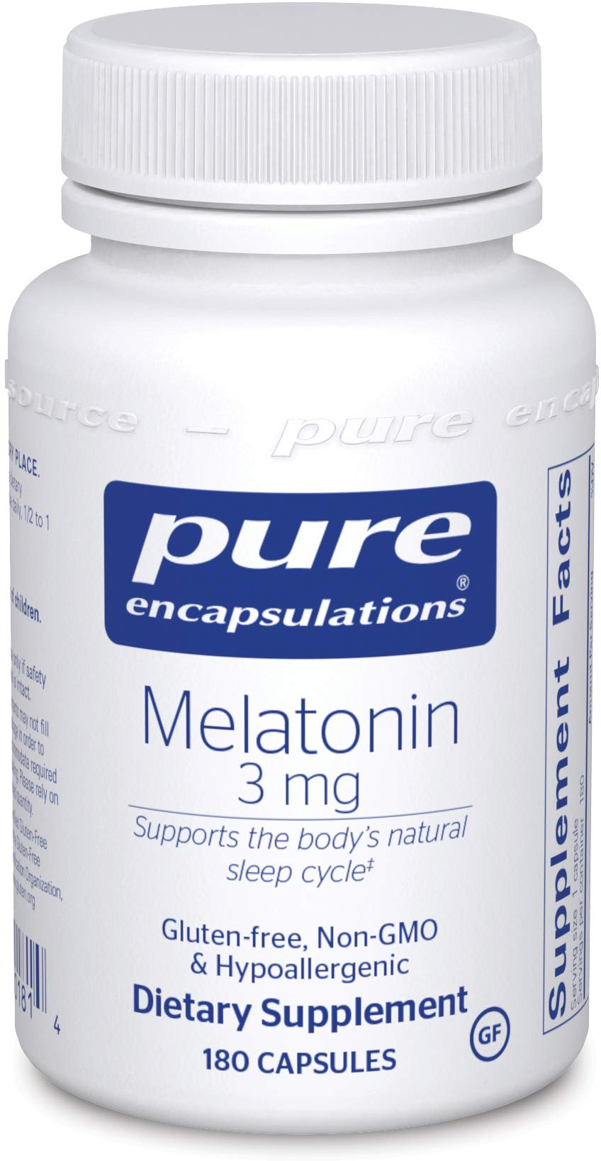 Pure Encapsulations - Melatonin 3 mg - Hypoallergenic Supplement Supports the Body's Natural Sleep Cycle* - 180 Capsules