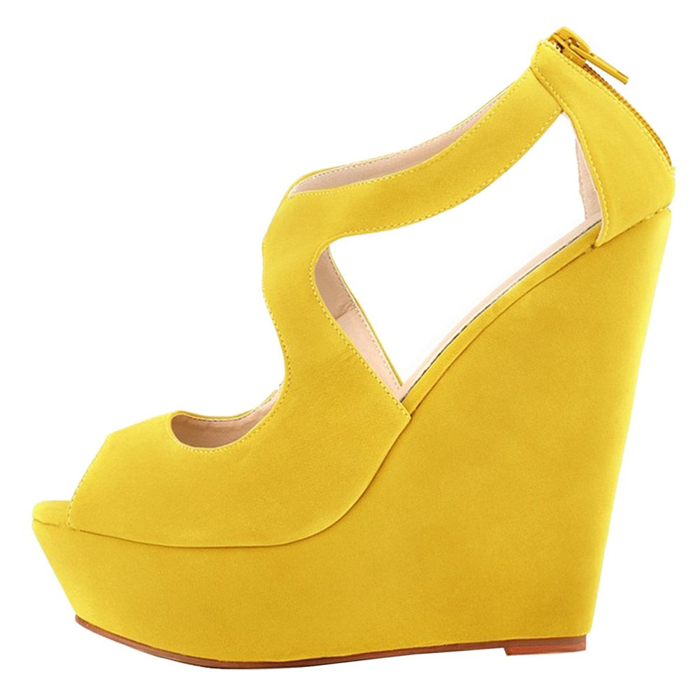 MERUMOTE Womens Wedges Heeled Sandals High Platforms Open Toe Zipper Shoes B01CWM6138 11 M US|Faux Suede Yellow