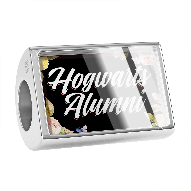 NEONBLOND Custom Charm Floral Border Hogwarts Alumni 925 Sterling Silver Bead