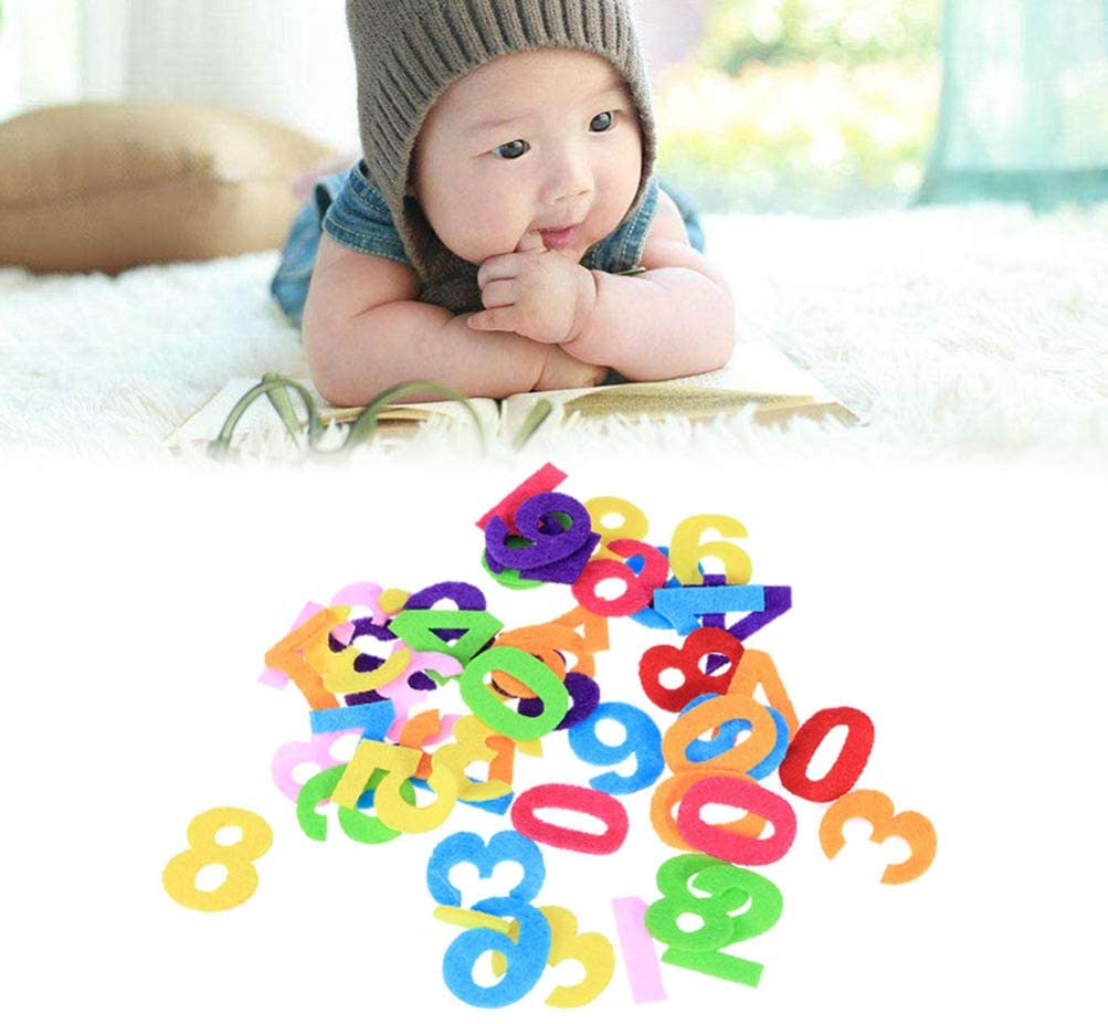 Exceart 100pcs Felt Numbers Fabric Numbers Toy Sewing Patch for DIY Craft Kids Birthday Party Decoration