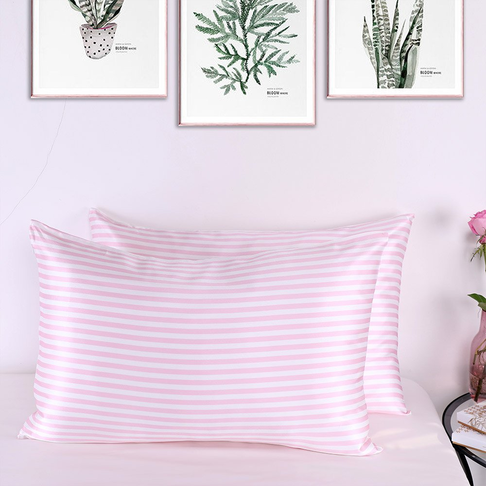 LilySilk Stripe Silk Pillowcase Pure Mulberry 22 momme Pink And White Stripped Luxury Soft Charmeuse 1pc King(20x36'')