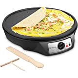 Electric Crepe Maker, iSiLER Nonstick Electric Pancakes Maker Griddle, 12 inches Electric Crepe Pan with Batter Spreader and