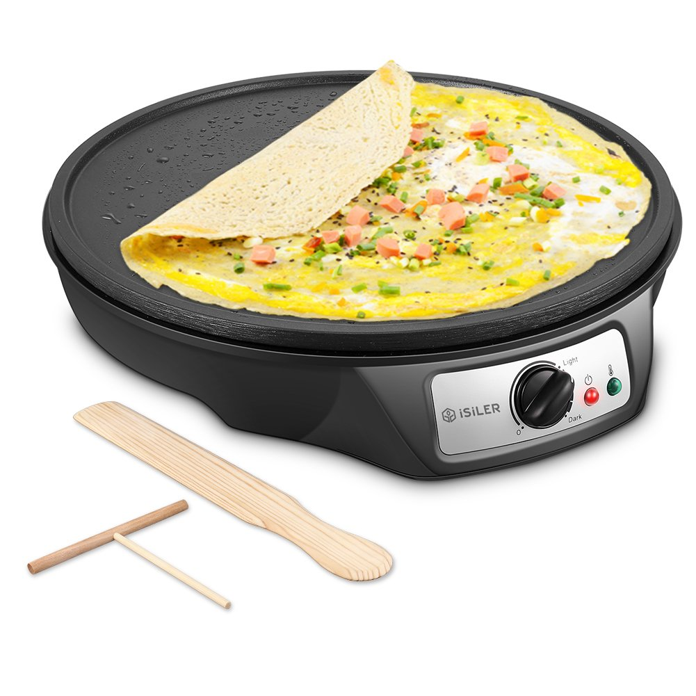 "Electric Crepe Maker, iSiLER 1080W Electric Pancakes Maker Griddle, 12"" Electric Nonstick Crepe Pan with Batter Spreader & Wooden Spatula, Precise Temperature Control for Roti, Tortilla, Eggs, BBQ"