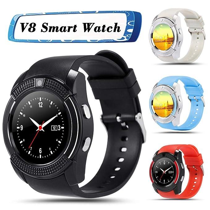 Hemobllo Smartwatch, V8 Pantalla Redonda Tarjeta para ...
