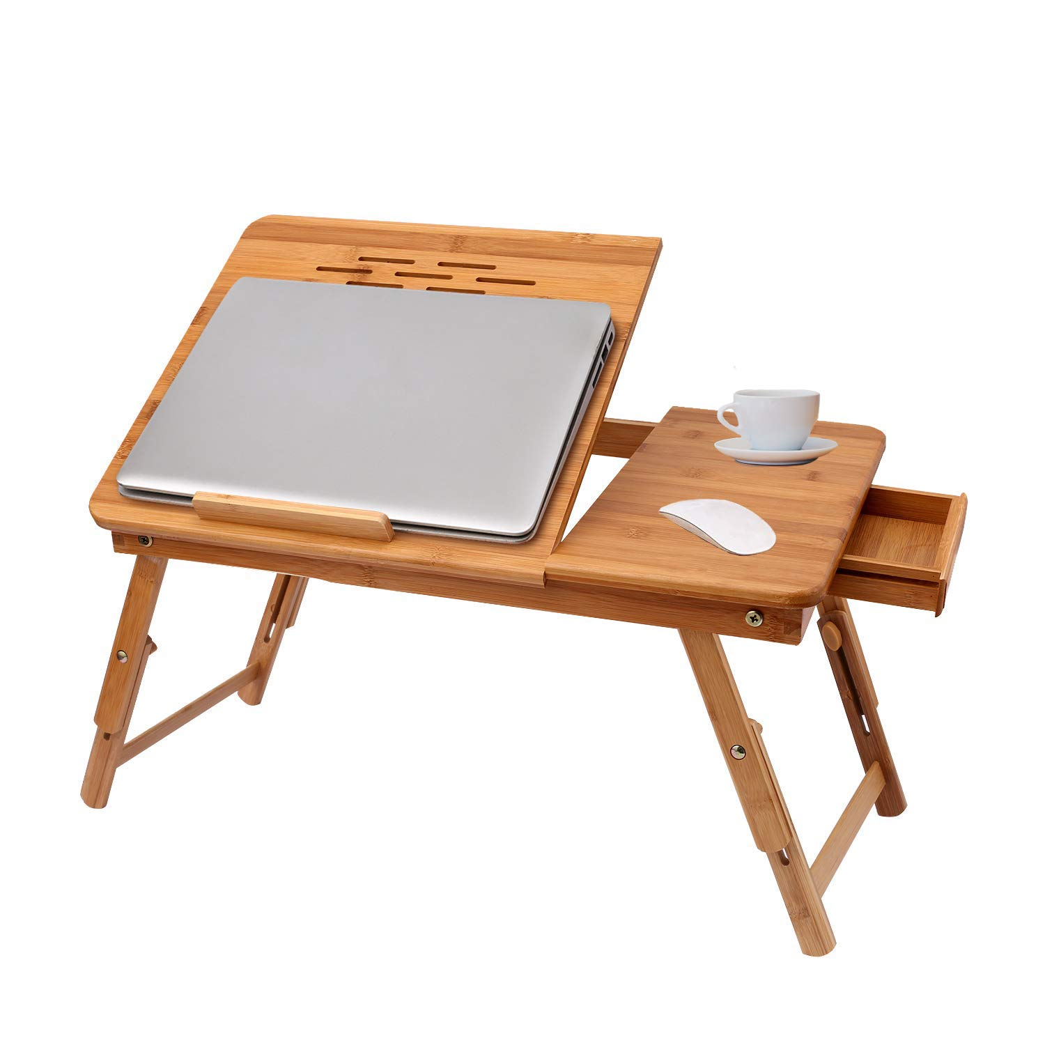 Jaketen Adjustable Bamboo Laptop Desk, Breakfast Serving Bed Tray with Tilting Top Drawer, Bed Desk for Surfing Reading Writing Eating