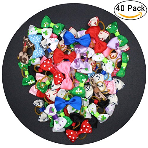 Diy Eskimo Costume - YOY 40 Pcs Adorable Grosgrain Ribbon Pet Dog Hair Bows with Elastics Ties - Stretchy Rubber Bands Doggy Kitty Topknot Grooming Accessories Set for Long Hair Puppy Cat