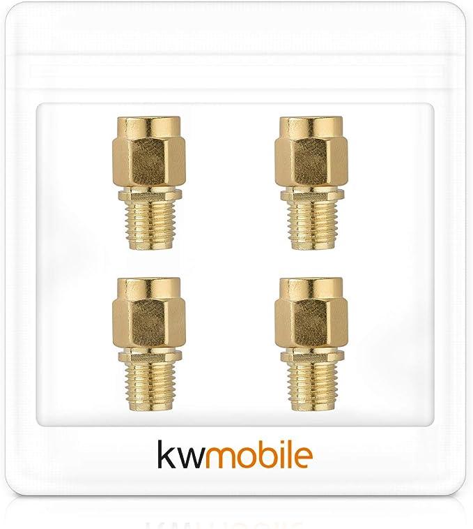 kwmobile Adaptador RP-SMA Macho a SMA Hembra - Conector para Cable coaxial y aéreo - para Antena Enchufe sin Pin - Set de 4X Conectores
