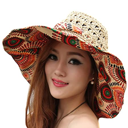 d4c0f8141cf TININNA Foldable Bohemia Floral Floppy Large Wide Brim Hollow Beach Straw  Hat Sun Hat Cap Sun Visor for Women Ladies Khaki  Amazon.co.uk  Kitchen    Home