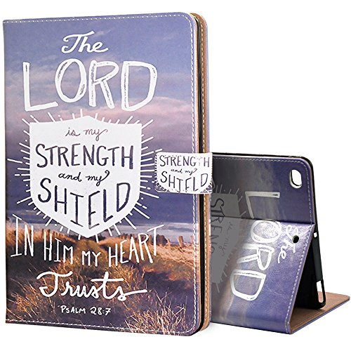 New iPad 2017 iPad 9.7 inch Case , Customized PU Leather Bible Verses Christian Quotes Psalm 28:7 with Auto Smart Folio Wake Sleep ,Stand Cover Cases For Apple New iPad 2017 iPad 9.7 inch Case