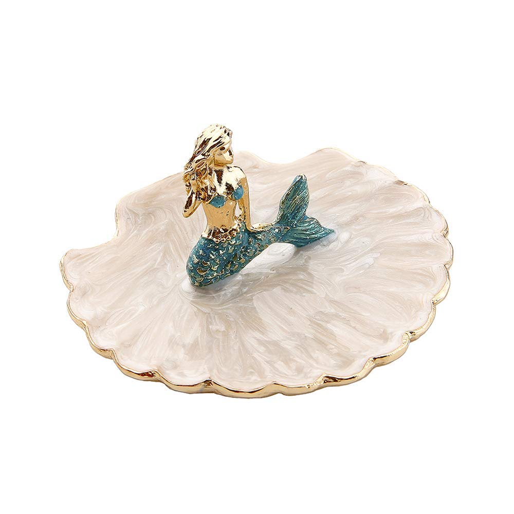 LARAINE Jewelry Tray Ring Display Holder Mermaid Trinket Dish Home Decorative Plate for Earrings Necklace Bracelet Organizer Display Blue