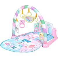 LIOOBO Baby Play Gym Activity Mat Kick and Play Piano with Music and Lights (Pink,Without Battery)