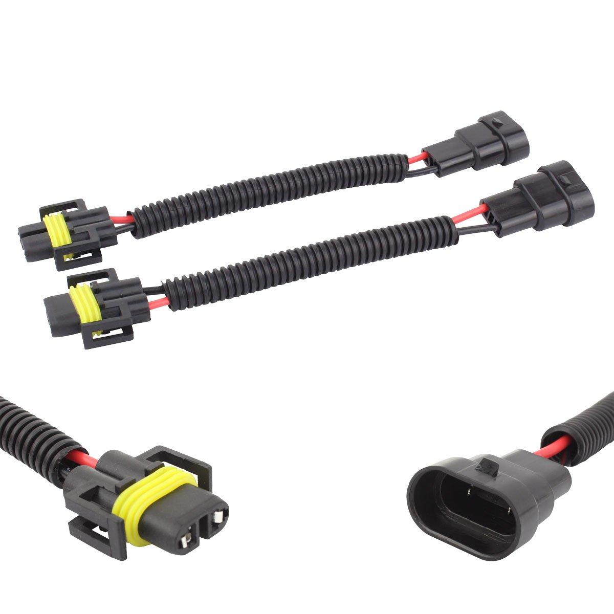 TOMALL Led Conector Adaptador Bombilla de luz 9006 de 9005 a H11 H8 Cableado de reequipamiento para luz de niebla LED Conector de 12 cm (5 pulgadas)
