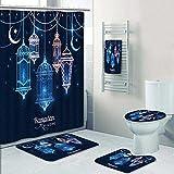Designer Bath Polyester 5-Piece Bathroom Set, Ramadan Kareem Islamic background lantern for Ramadan Shower curtain/toilet seat/bath towel