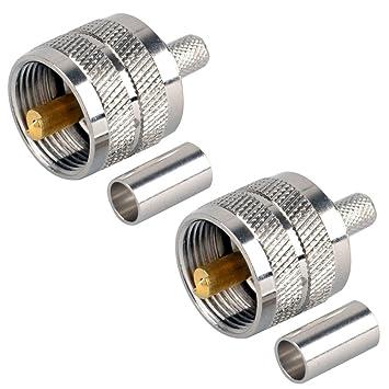 Dong atornilladas acoplamiento conector UHF macho PL259 enchufe Crimp RG58 RG142 LMR195 RG400 Cable recto 2