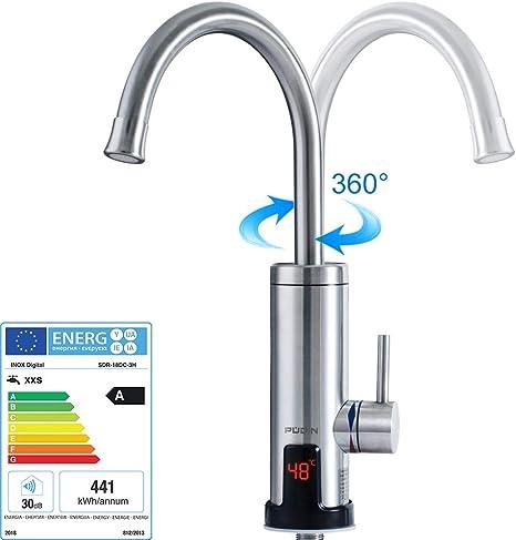Pudin,R/échauffeur /électrique instantan/é 220V neuf alimentation en eau chaude et froide robinet deau chaude en acier inoxydable avec affichage num/érique /à LED pour