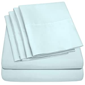 Sweet Home Collection 7 Piece 1500 Thread Count Brushed Microfiber Deep Pocket Sheet Set - 2 EXTRA PILLOW CASES, VALUE Split King Aqua