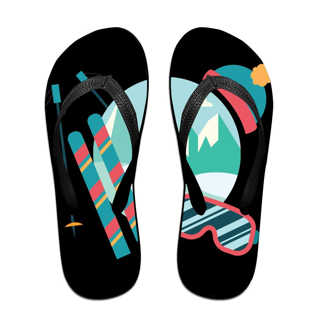 Couple Slipper Skiing Equipment Print Flip Flops Unisex Chic Sandals Rubber Non-Slip Beach Thong Slippers
