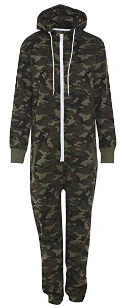 4fb14a961d0e Mens Unisex Onesie Full Camouflage Print Zip Up All In One Hooded Army Camo  Jumpsuit Playsuit Brushed Fleece Inside  Amazon.co.uk  Clothing
