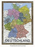 Laminated Posters Framed - Deutschland - Map Of Germany - GERMAN LANGUAGE - Push Pin Memo Notice Board - Natural Driftwood Effect - Matt Finish - Measures 96.5 x 66 cms (38 x 26 Inches - Approx)
