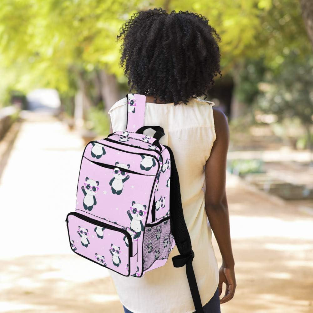Cartoon Panda With Sunglasses Pink Print School Backpack Laptop Backpacks Casual Bookbags Daypack for Kids Girls Boys and Women