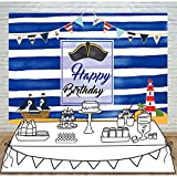 Allenjoy 7X5ft Thin Vinyl Sea Party Backdrop Pirate Ship Treasure Island Beacon Banners Blue Wave Stripes Little Man Captain Background for Birthday Decoration Photocall Baby Shower Booth