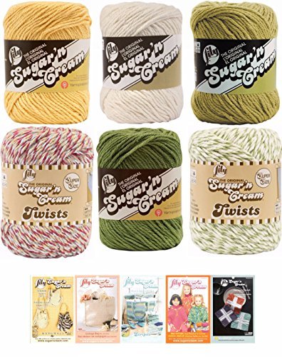 (Lily Sugar n' Cream Variety Assortment 6 Pack Bundle 100% Cotton Medium 4 Worsted with 5 Patterns (Multi 7))