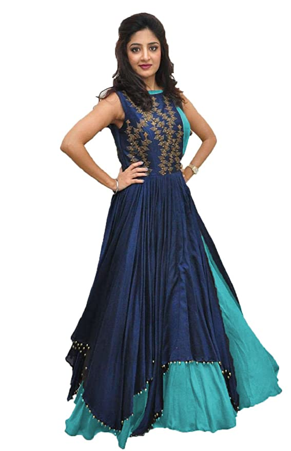 9a15f02fda9e Rudra Zone Women s Banglory Gown With Jacket Gown for Party Wear Dress(SKY)   Amazon.in  Clothing   Accessories