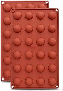 AxeSickle 2PCS Silicon Chocolate Mold Mini Hemisphere Half Round Shapes 24 holes.