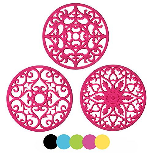 ME.FAN 3 Set Silicone Multi-Use Intricately Carved Trivet Mat - Insulated Flexible Durable Non Slip Coasters (Fuscia)