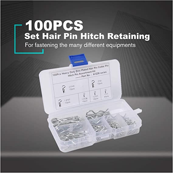 Silver Eduton 100PCS Zinc Plated Hair Pin Hitch Retaining R Clip Lynch Cotter Spring Assorted Kit Split Cotter Pins Kit Set Fastener Pins