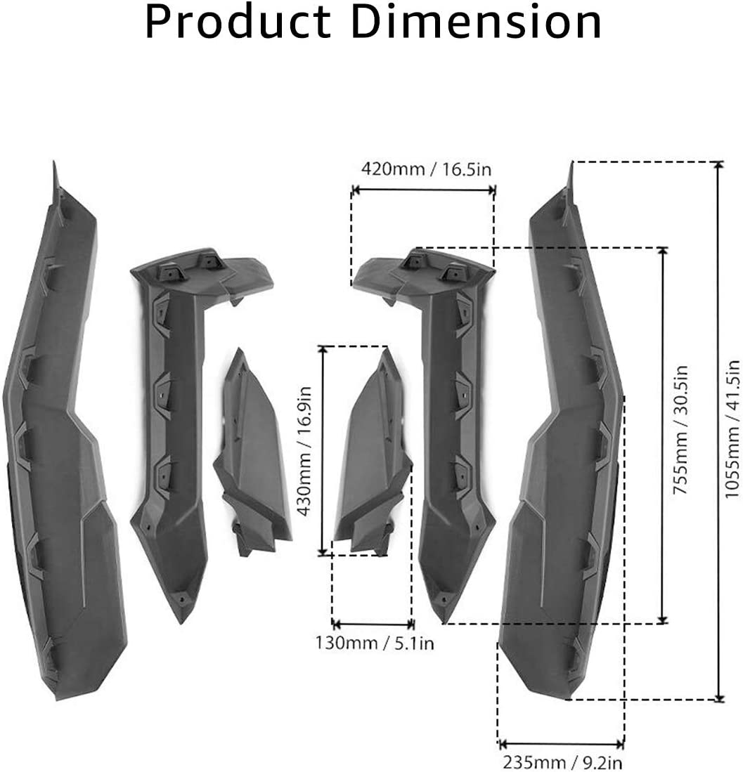 A/&UTV PRO Extended Mud Fender Flares Front /& Rear for 2017-2020 Can Am Maverick X3 All Models Accessories Replace # 715002973 Maverick X3 Fender Flare Extensions