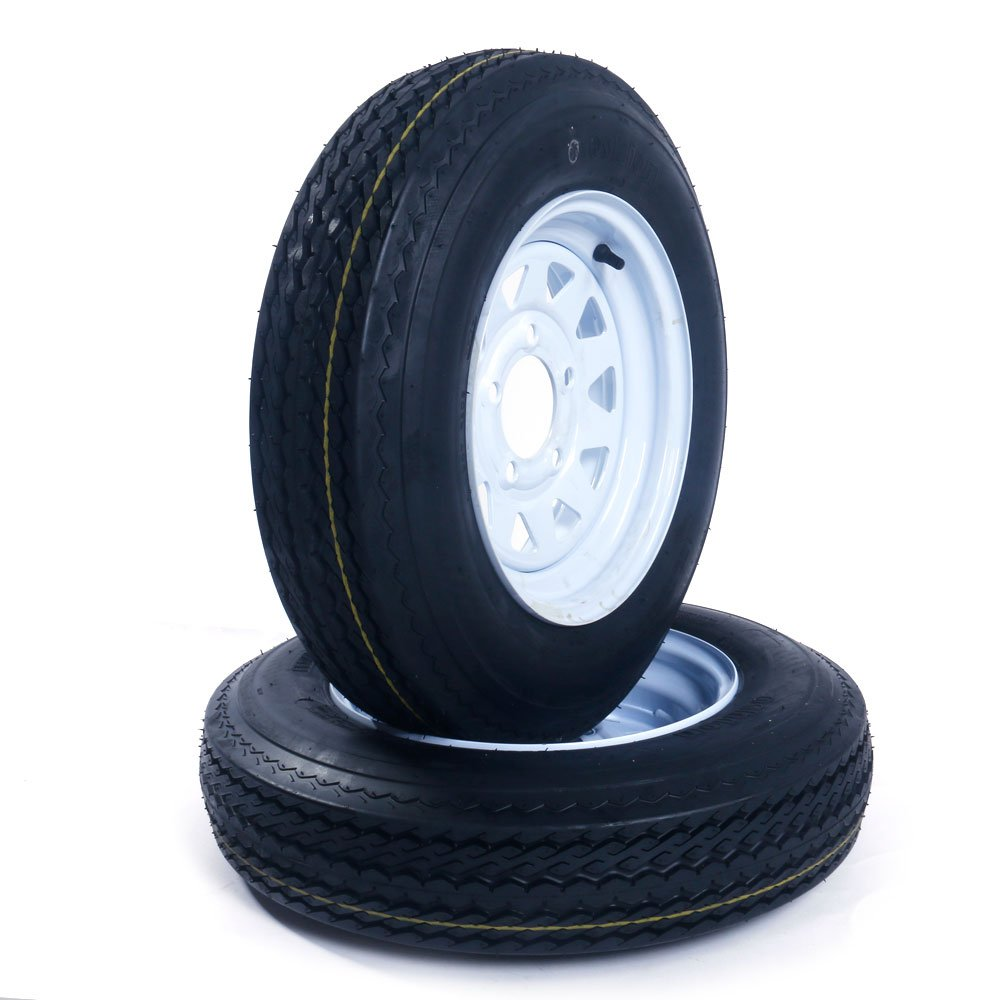 Set of 2 12'' 5 Lug White Bias Trailer Wheels & Rims 5.30-12 Tire Mounted on (5x4.5) bolt circle