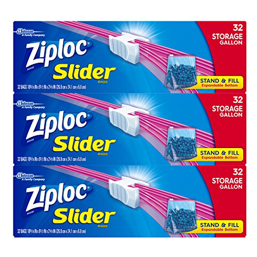 Ziploc Gallon Slider Storage Bags, 32 ct (Pack of 3) 96 total -