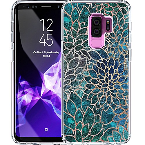 S9 Plus Case, LAACO Scratch Resistant TPU Gel Rubber Soft Skin Silicone Protective Case Cover for Samsung Galaxy S9 Plus Blue-green gem floral design