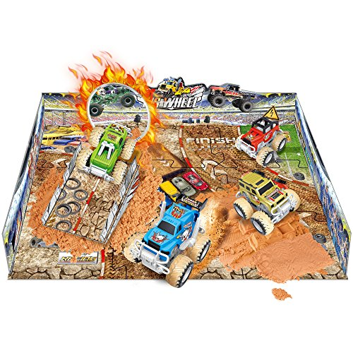 Wheel 4x4 Monster Friction Pullback Truck Stunt Stadium - Includes 2 Vehicles, Molding Sand, Play Mat (38 Pcs) ()