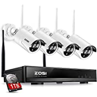 ZOSI 4 Channel 960p AUTO-Pair Wireless Security Camera System,4CH 960P NVR with 4 x 1.3P 960P HD Wireless Surveillance IP Camera System (Indoor/Outdoor CCTV Camera,Built-in Router, 1TB HDD Built-in)