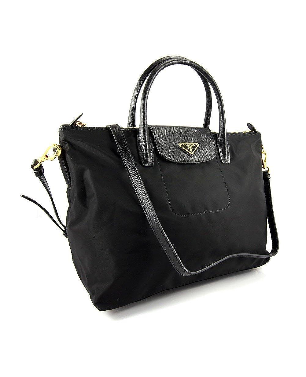 c0084736fd01 Prada BN2106 Nero Black Tessuto Saffian Nylon and Leather Shopping Tote  Bag: Amazon.ca: Shoes & Handbags