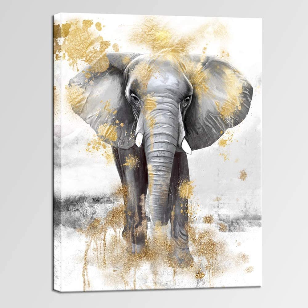 sechars Modern Animal Picture Wall Art Gold and Grey Elephant Painting Canvas Prints Contemporary Art for Living Room Bedroom Wall Decor Framed Artwork Ready to Hang 24x32inches